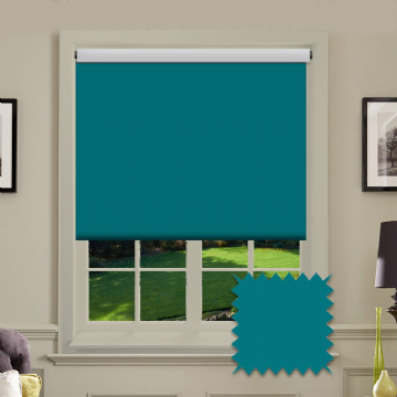 Teal Plain Roller Blind in Carnival Topaz FR / Antibacterial fabric